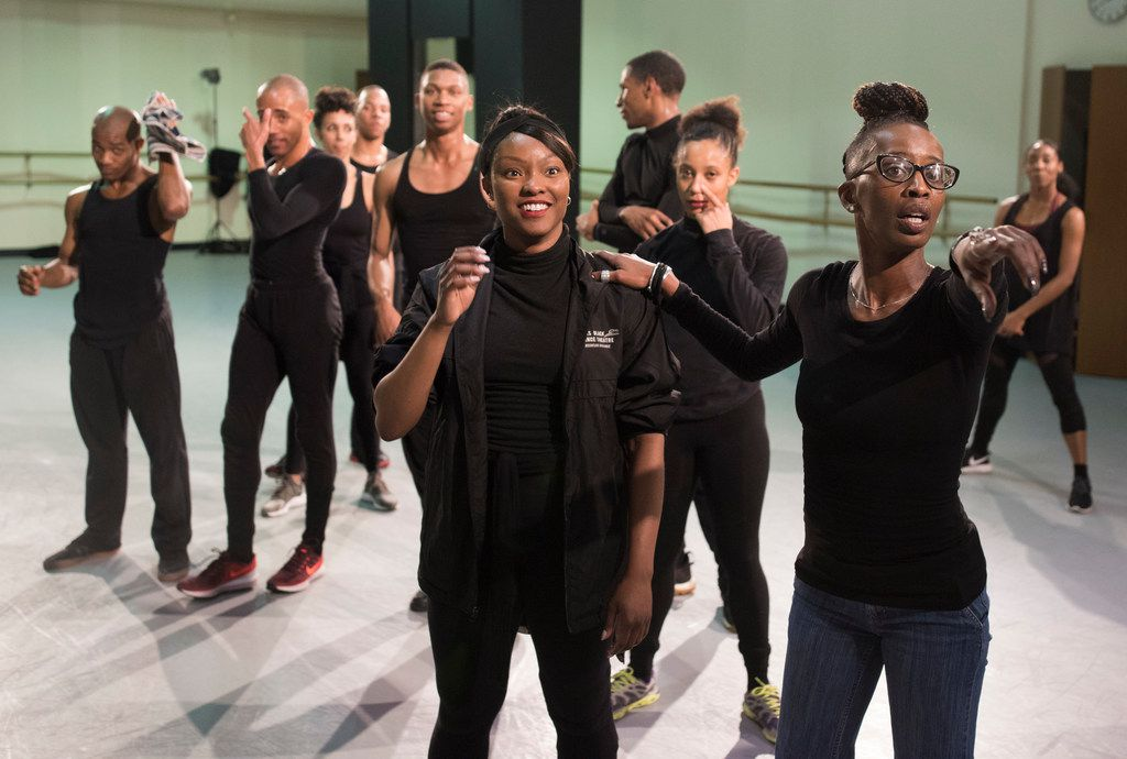 Michelle N. Gibson directs Jasmine White-Killins and the other members of Dallas Black Dance Theatre in her Hurricane Katrina-themed piece, Displaced, Yet Rebirthed, premiering Feb. 16.