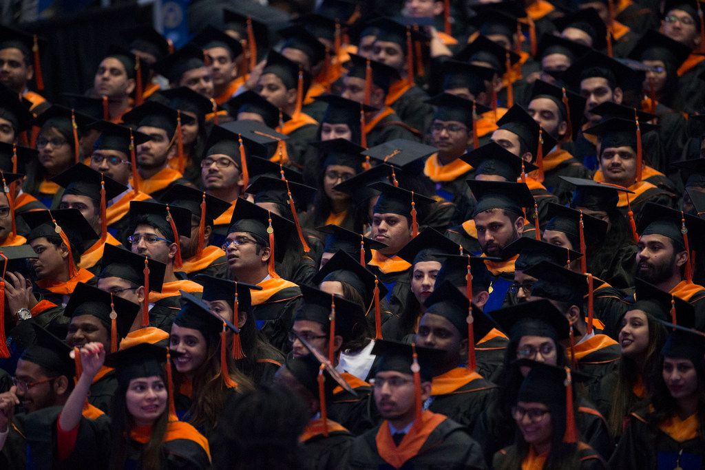 Masters students during a graduation ceremony for the University of Texas at Arlington's College of Engineering students at College Park Center in Arlington on Dec. 15, 2018. (File Photo/Staff)