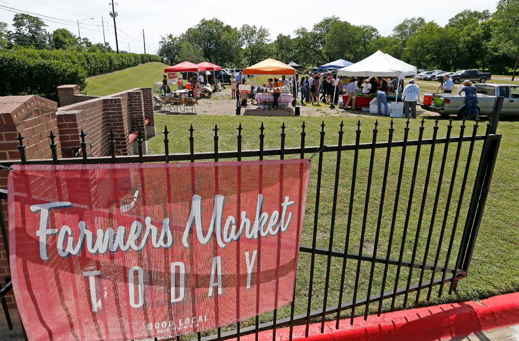 The new farmers market near the old football field on the Paul Quinn College campus.
