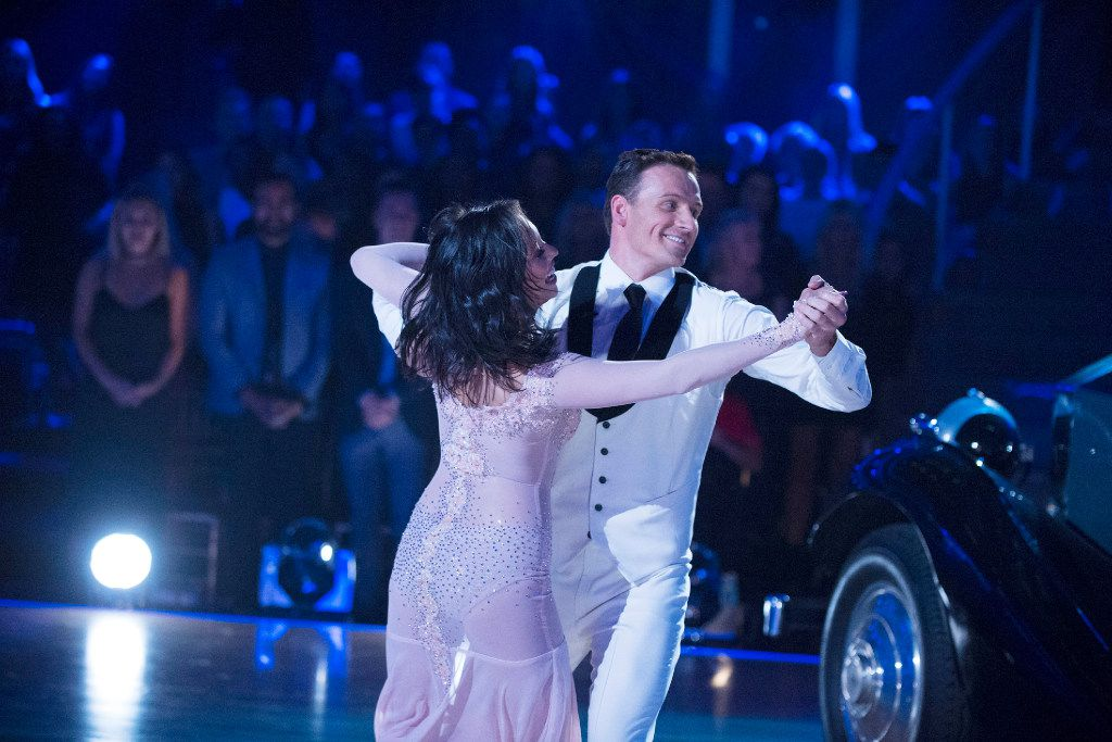 "Cheryl Burke, left, and United States Olympic swimmer Ryan Lochte, perform on ""Dancing with the Stars."""