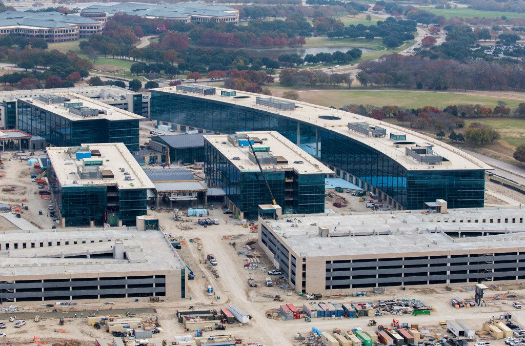 The parking garages include more than 8,000 spaces. The garages will have solar panels that are expected to provide 25 percent of the power needed at the campus. (Ashley Landis/The Dallas Morning News)