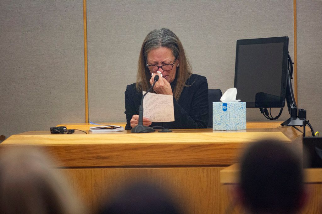 Bonnie Jameson, the mother of Kendra Hatcher, reads a statement to Brenda Delgado following her guilty verdict in the 363rd Judicial District Court at the Frank Crowley Courthouse in Dallas, Friday, June 7, 2019. Delgado was found guilty of capital murder, and was accused of hiring Crystal Cortes and Kristopher Love to kill Hatcher, an Uptown dentist. (Lynda M. Gonzalez/The Dallas Morning News)