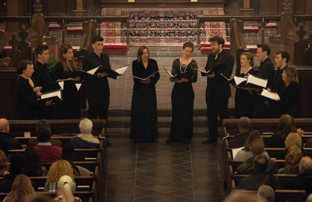 Members of Stile Antico, a British vocal ensemble, perform at Church of the Incarnation on Friday, Dec. 14, 2018.    (Rex C. Curry/Special Contributor)