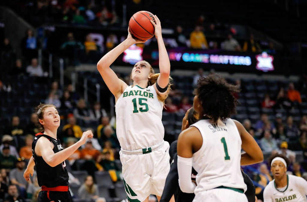 Baylor forward Lauren Cox (15) shoots against Texas Tech during the second half of an NCAA college basketball game in the Big 12 women's conference tournament in Oklahoma City, Saturday, March 9, 2019. Baylor won 100-61. (AP Photo/Alonzo Adams)