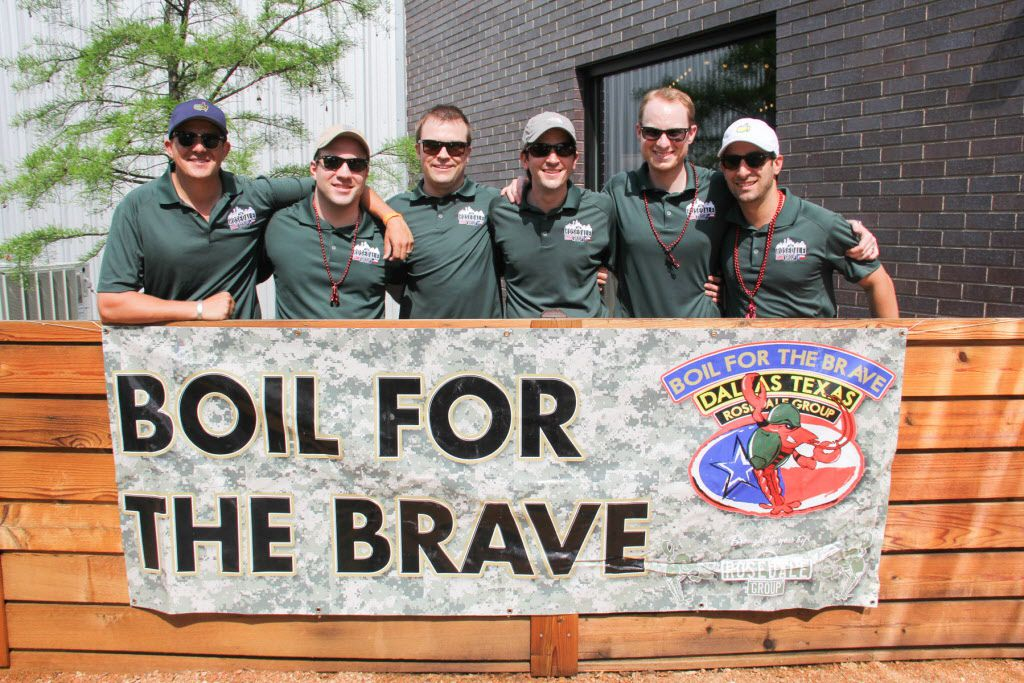 The Rosedale Group members are William Shaddock, Scott Piland, Carter Cheek, Sven Trautmann, Andrew Kastanos, and Patrick McMillan at the Boil for the Brave crawfish boil benefitting Veterans Rehabilitation program was held at The Rustic in Uptown on April 18, 2015