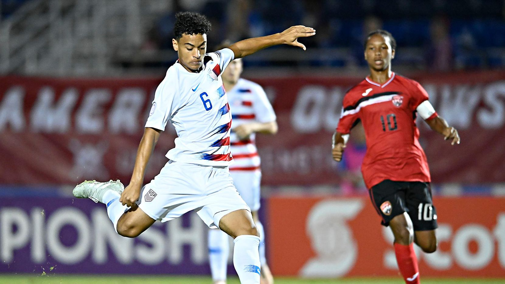 Brandon Servania of FC Dallas playing in the 2018 Concacaf U20 Championship against Trinidad and Tobago.
