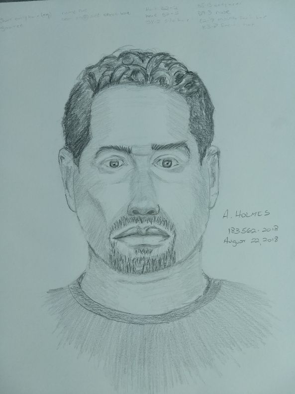 A sketch of a suspect in the sexual assault of a woman on Aug. 19.
