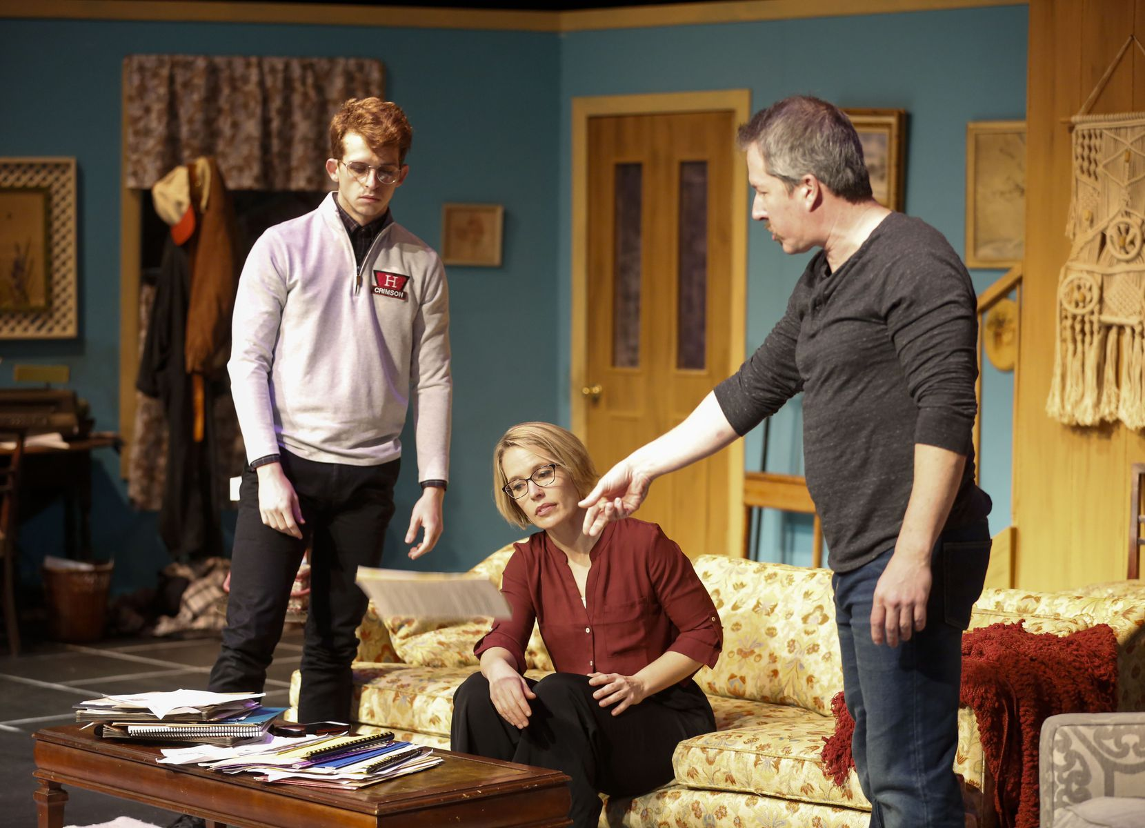 "Evan Michael Woods (left), Dana Schultes and Chris Hury star in ""The Lifespan of a Fact"" at Stage West in Fort Worth."