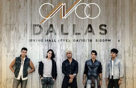 CNCO llega a Dallas el 10 de abril. Estarán en el Irving Mall.