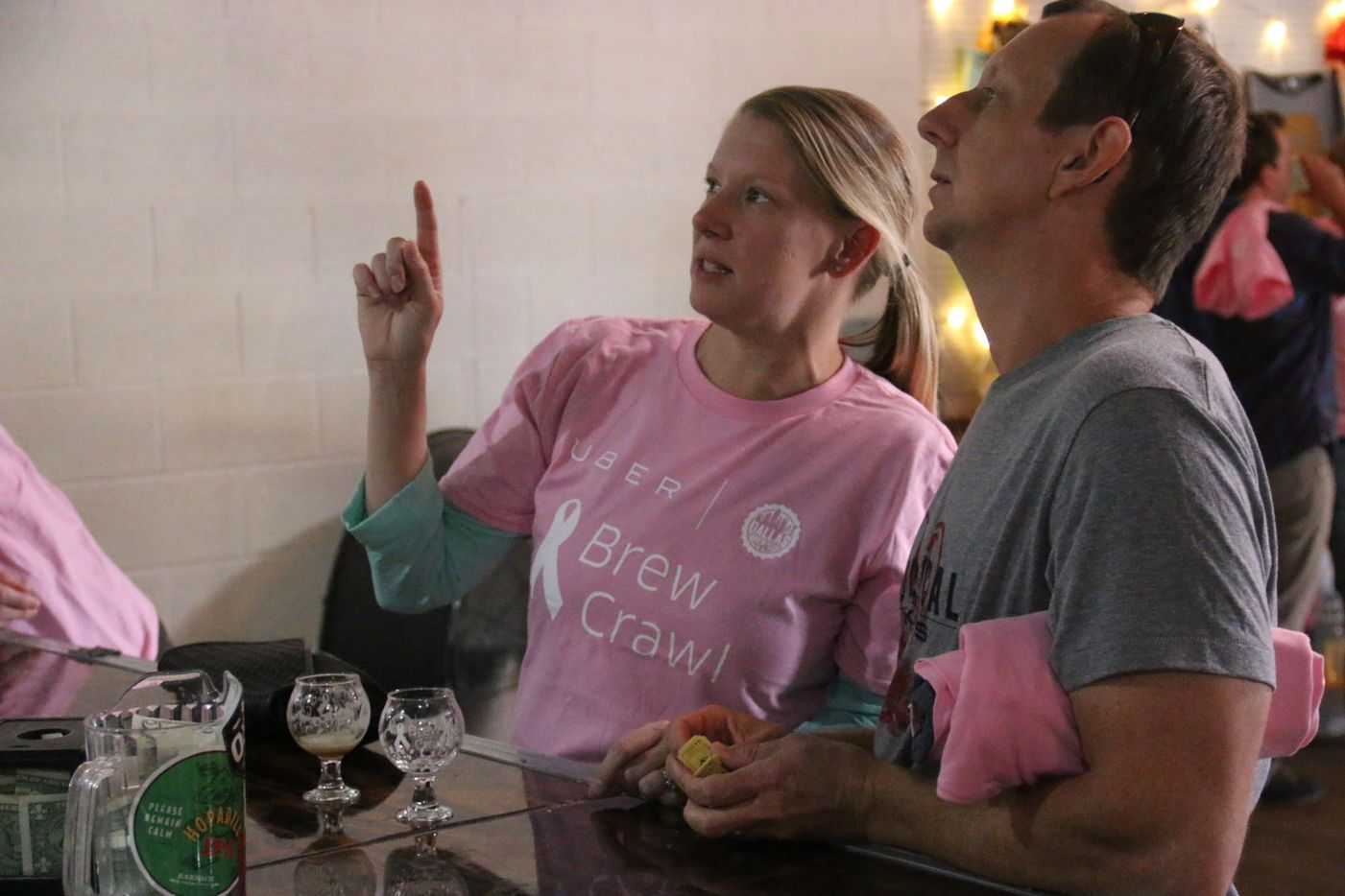 Kevin and Kim Vowell  at Noble Rey Brewing Co. during the inaugural Brew Crawl for Breast Cancer on Saturday in Dallas. The event was put on by Dallas Brew Scene, with all proceeds benefiting former Dallas Cowboys player Bradie James' Foundation 56 breast cancer nonprofit.