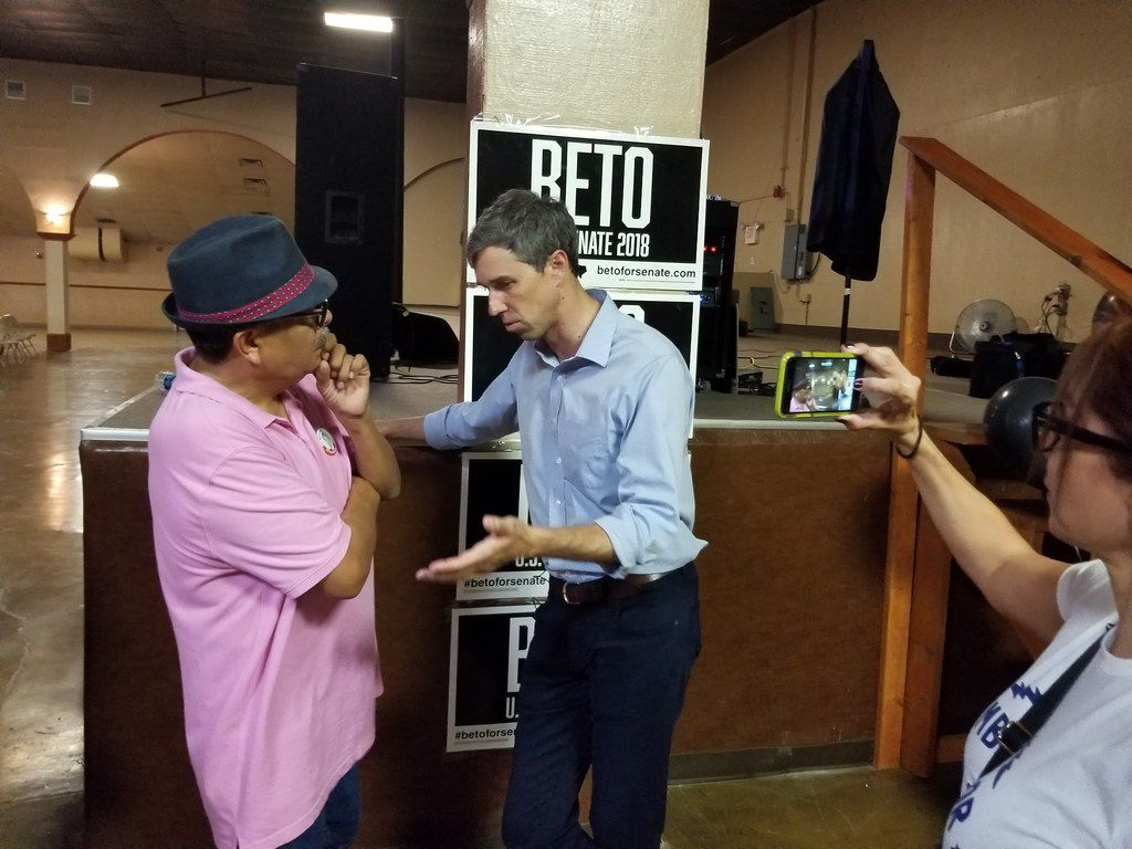 Rep. Beto O'Rourke speaks with restaurateur Martin Gonzalez during a campaign stop in Odessa on July 30, 2018. O'Rourke is challenging Sen. Ted Cruz.