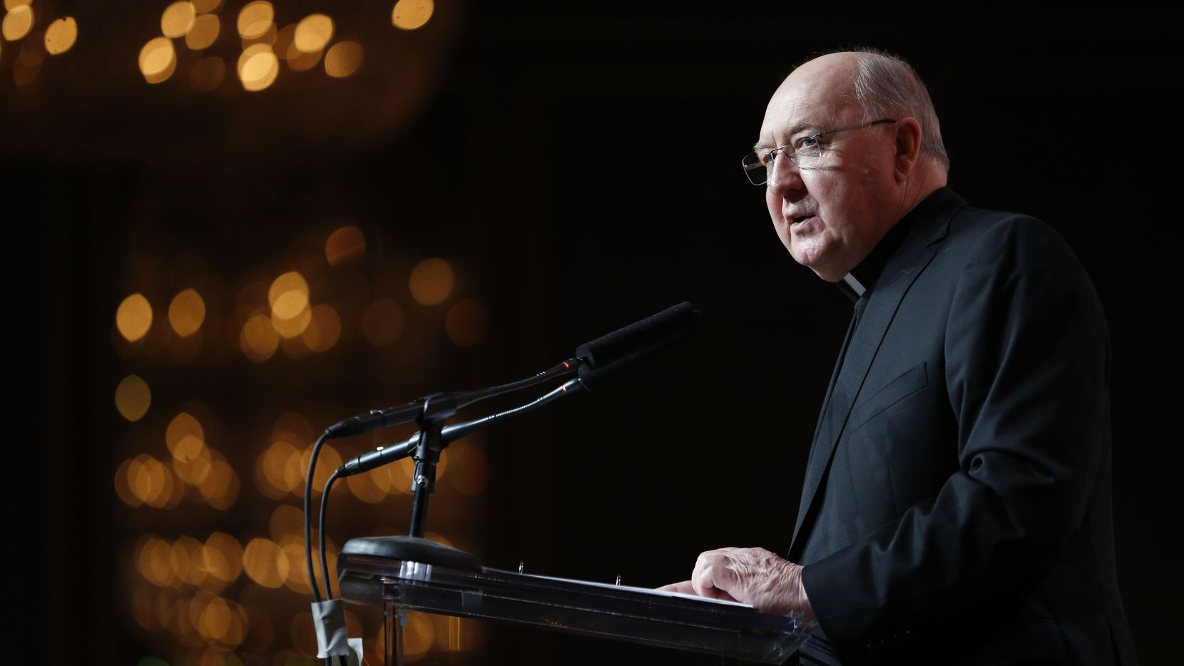 Dallas Bishop Kevin Farrell speaking in February 2016.