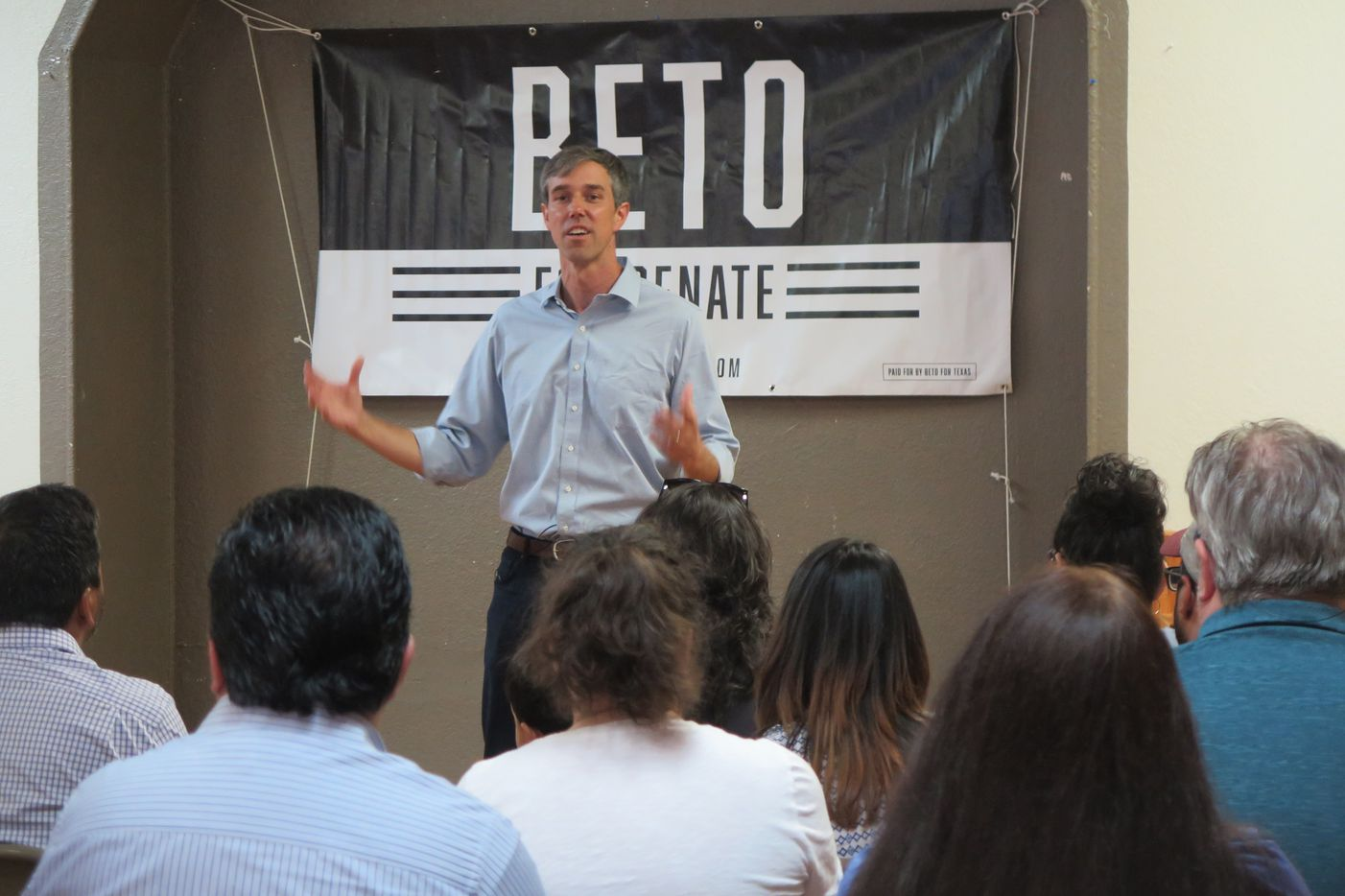 Beto O'Rourke stumps in Fort Stockton, Texas, on the second-day of his 34-day driving tour.