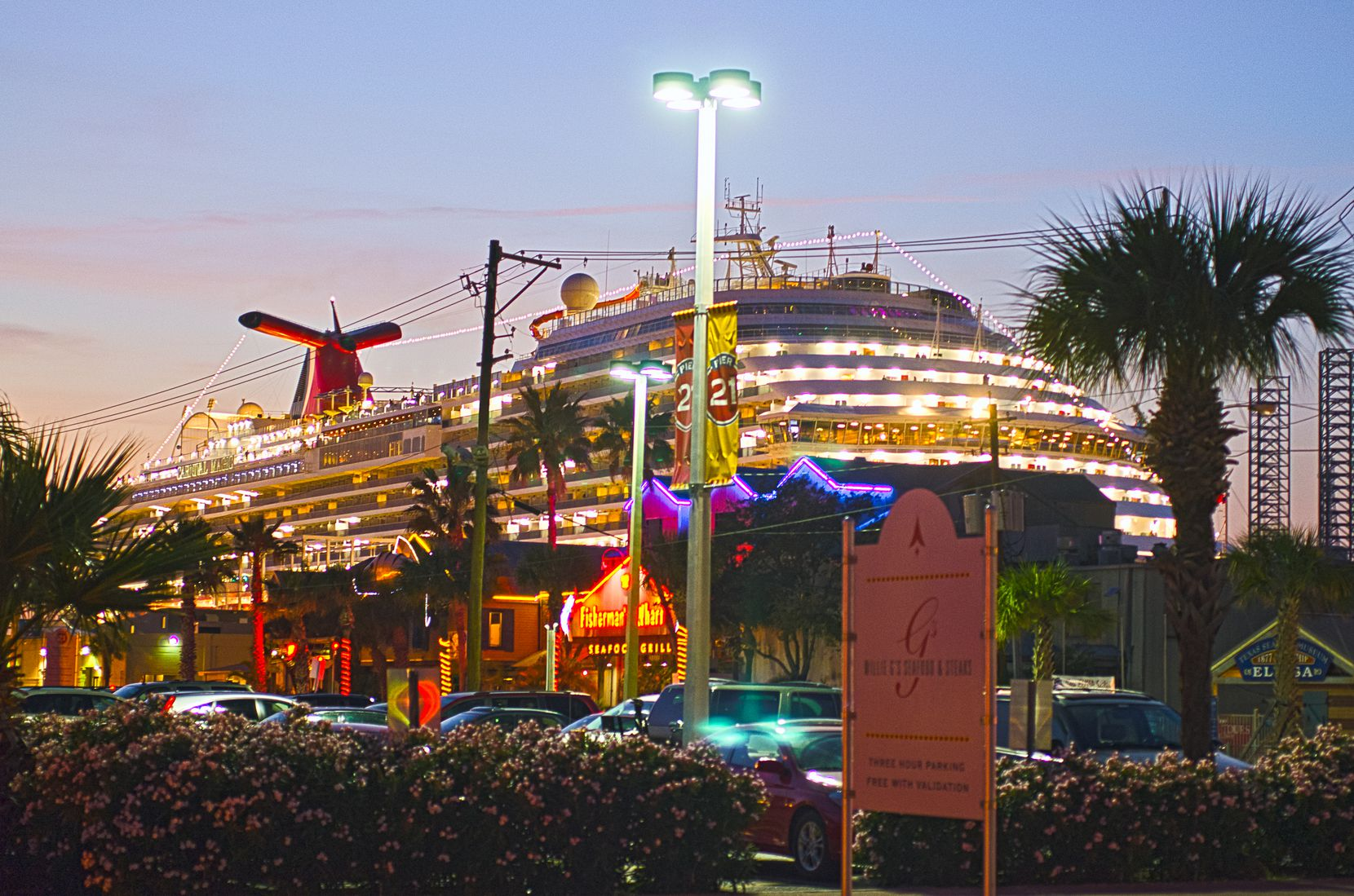 Cruise ships are a common sight in Galveston