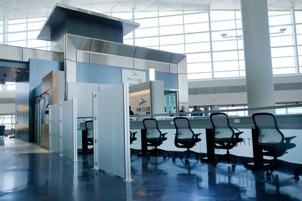 The Productivity Zone, an open area space to get some work done, is part of The Club DFW in Terminal D of Dallas-Fort Worth International Airport, Tuesday, September 25, 2018. The club, similar to those by the major airlines, can be used by anyone for a daily fee. (Tom Fox/The Dallas Morning News)
