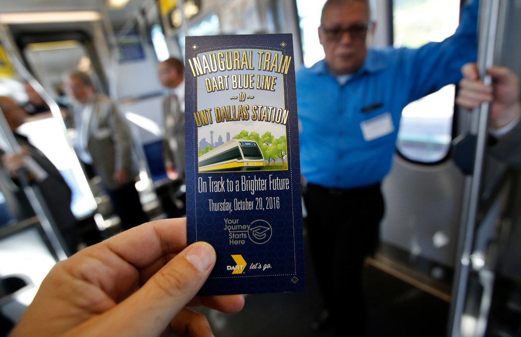 Local officials and people involved in the construction of the Blue Line  extension were invited to a ceremonial ride. (Tom Fox/The Dallas Morning News)