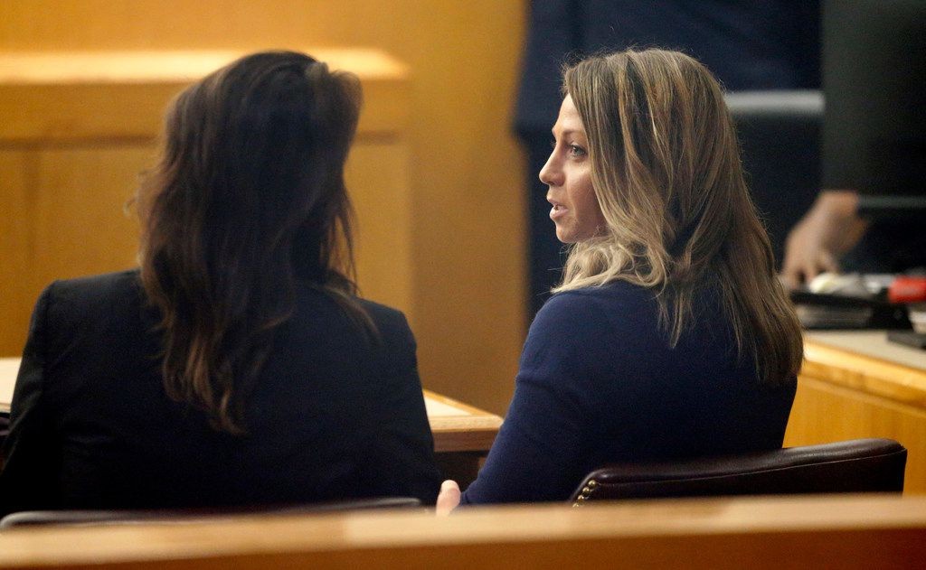 Fired Dallas police Officer Amber Guyger (right) appeared for a pretrial hearing in her murder trial at the Frank Crowley Courthouse in downtown Dallas on Sept. 16, 2019. Guyger shot and killed Botham Jean, an unarmed man, in his own apartment last year.