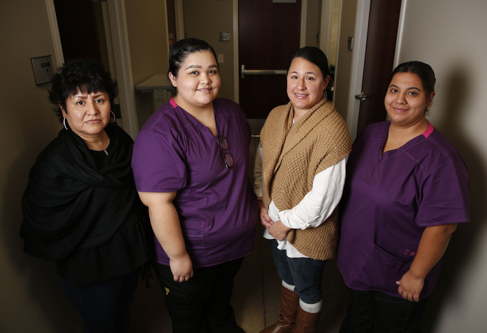 Brother BillÕs Helping Hand clinic staff includes Leticia Balderas (left), receptionist; Priscilla Lopez, medical assistant; Mandy Micheaux, physician's assistant and Kimberly Flores, medical assistant.