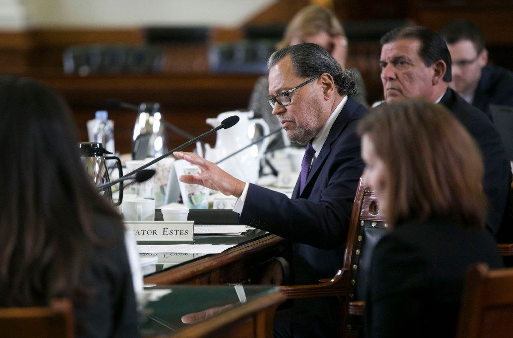 Sen. Jose Rodriguez, D-El Paso, asked questions during testimony on the bill.