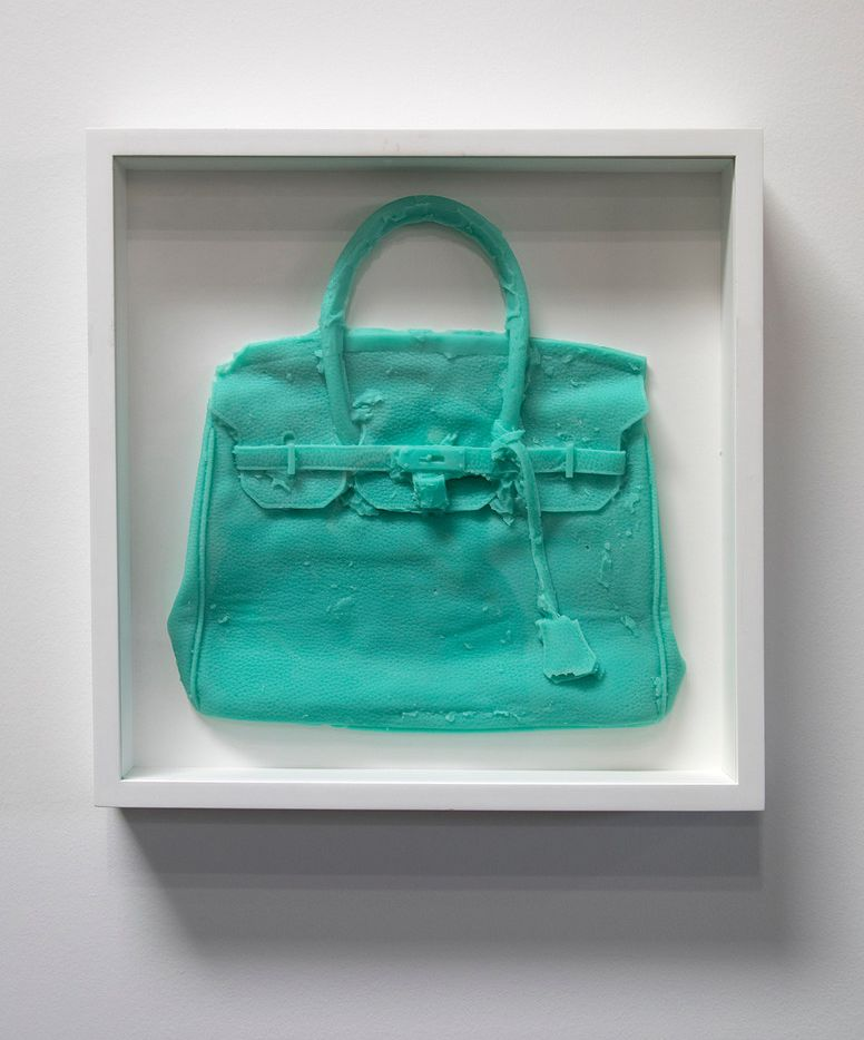 "Shelter Serra ""Homemade Hermes Birkin Bag (Aqua),"" cast silicone (unique) 18.75.x18.75 in. (framed)"
