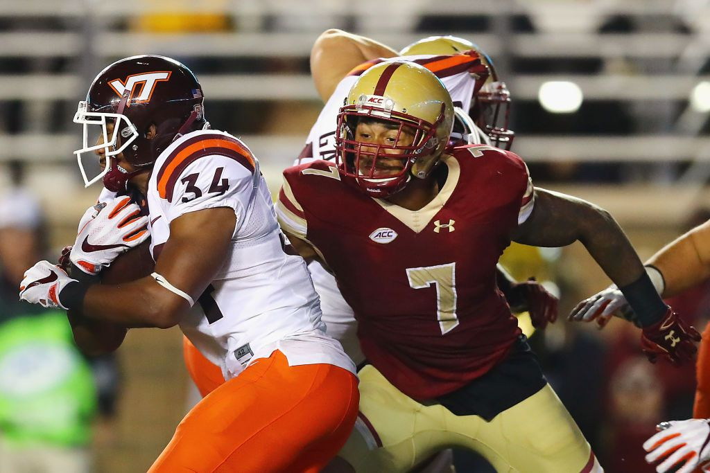 CHESTNUT HILL, MA - OCTOBER 07: Harold Landry #7 of the Boston College Eagles attempts to tackle Travon McMillian #34 of the Virginia Tech Hokies at Alumni Stadium on October 7, 2017 in Chestnut Hill, Massachusetts. (Photo by Tim Bradbury/Getty Images)