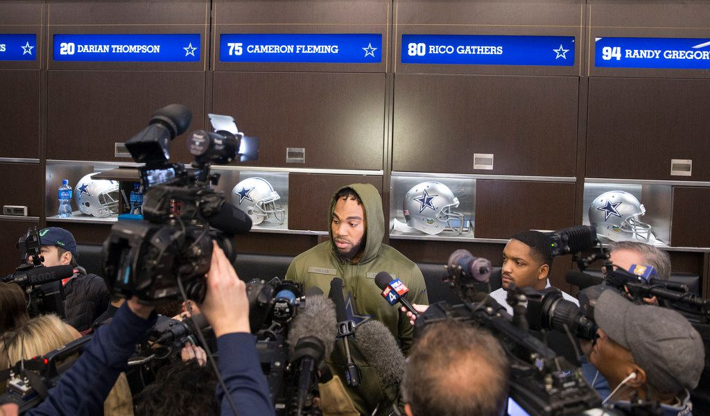 FILE - Dallas Cowboys tight end Rico Gathers speaks with the press members in the locker room at Ford Center at the Star in Frisco, Texas on Sunday, January 13, 2019. The Cowboys lost to the Los Angeles Rams on January 12, ending their season. (Daniel Carde/The Dallas Morning News)
