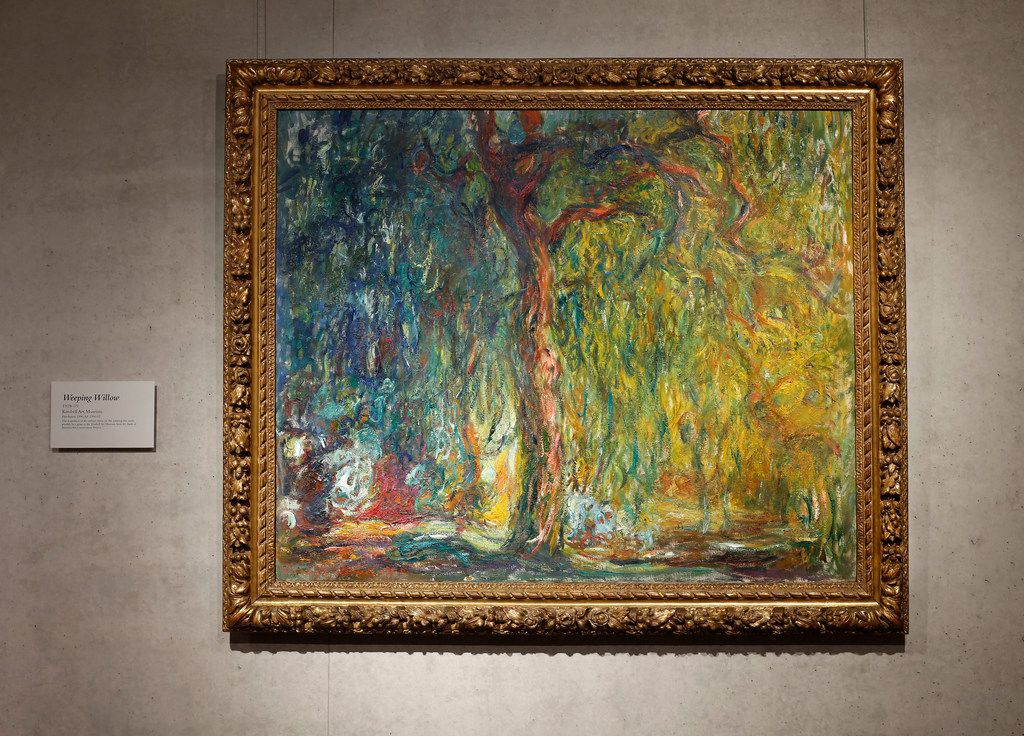 The newly reframed Weeping Willow (1918-1919) by Claude Monet is on exhibit at the Kimbell Art Museum in Fort Worth.
