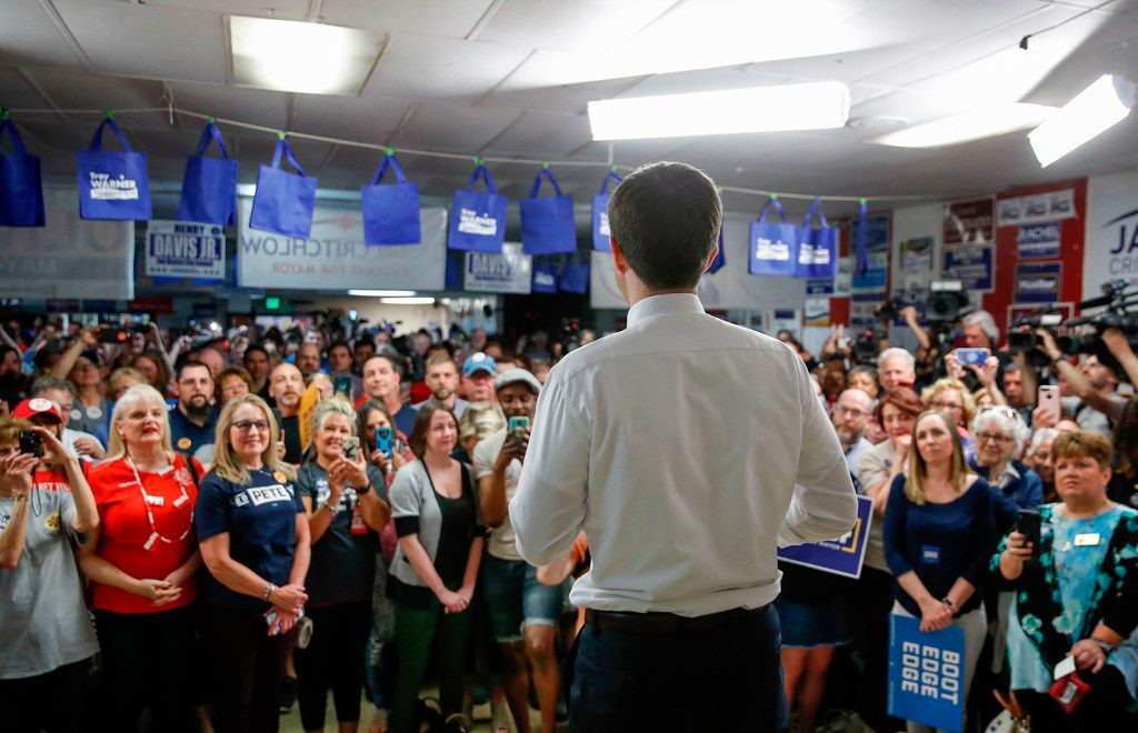 South Bend Mayor and Democratic presidential candidate Pete Buttigieg speaks at the West Side Democratic Club during a Dyngus Day celebration event on April 22, 2019 in South Bend, Ind.