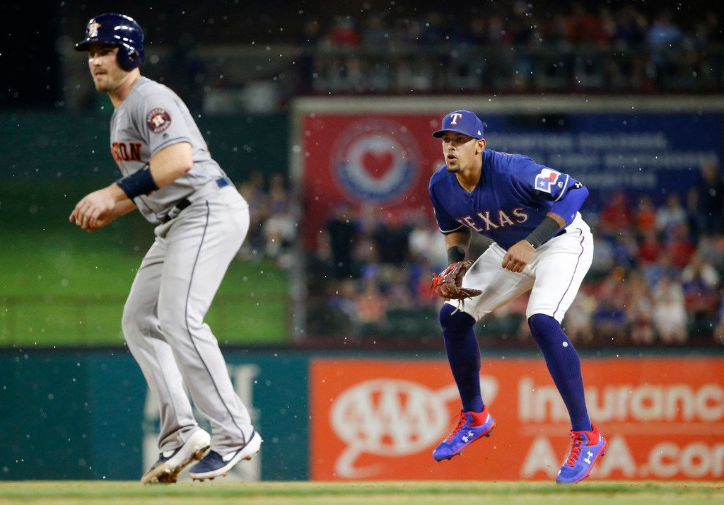 Texas Rangers first baseman Ronald Guzman readies himself for a hit during the light shower against the Houston Astros at Globe Life Park in Arlington, Texas, Saturday, July 13, 2019.