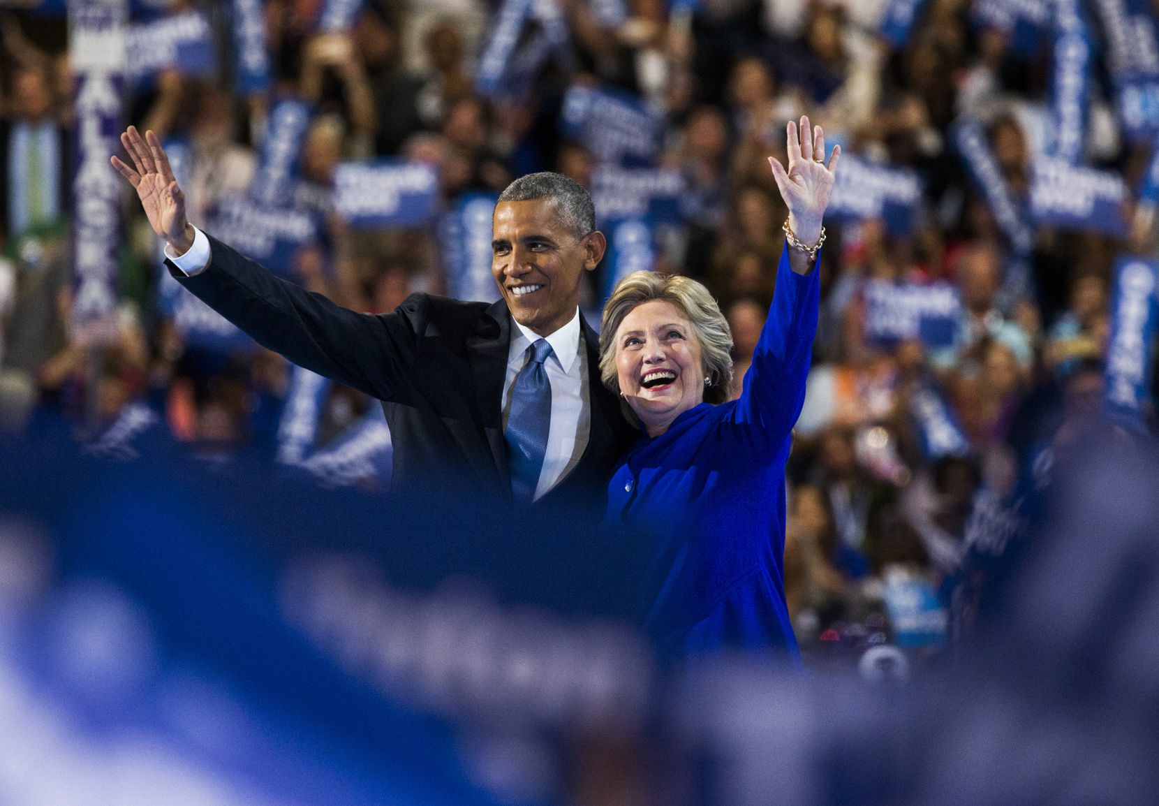 President Barack Obama and presidential candidate Hillary Clinton waved to supporters after Obama's speech Wednesday.