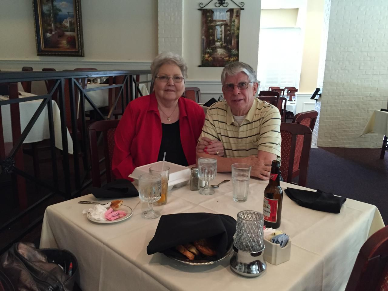 Elizabeth and George Epps of Carrollton have lunch at Vincent's Seafood in Plano on July 27.