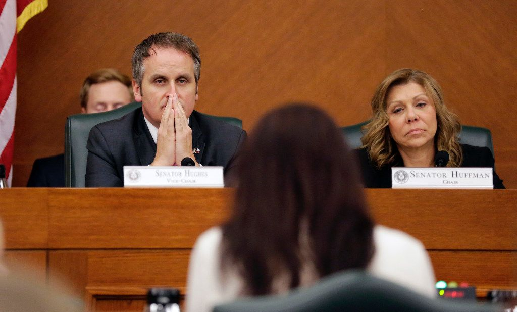 """Texas Sen. Bryan Hughes, R-Mineola, left, and Sen. Joan Huffman, R-Houston, right, listen to testimony as the Senate State Affairs Committee begins debate Senate Bill 6 at the Texas Capitol, Tuesday, March 7, 2017, in Austin, Texas. The the transgender """"bathroom bill"""" would require people to use public bathrooms and restrooms that correspond with the sex on their birth certificate. (AP Photo/Eric Gay)"""