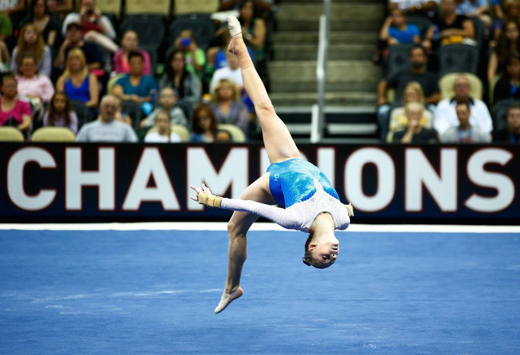 Alyssa Baumann competes in the floor exercise of the senior women preliminaries during the 2014 P&G Gymnastics Championships on August 21, 2014, in Pittsburgh, Pennsylvania.
