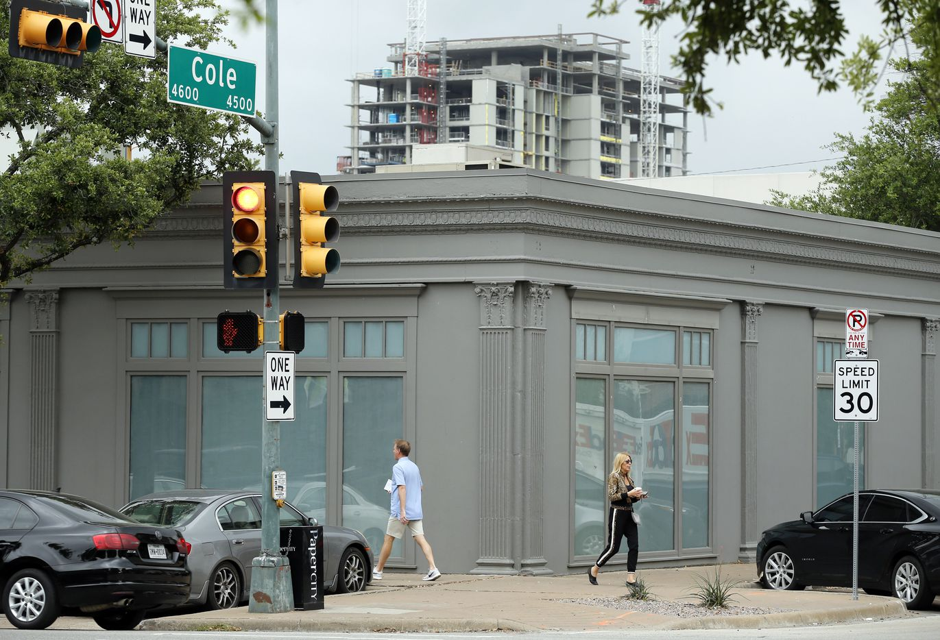 The old Restoration Hardware store on Knox St. is slated to be torn down and replaced with a 3-story retail building and restaurant on the top floor in Dallas, Wednesday, May 1, 2019. Behind it is seen construction on a high rise apartment tower along Central Expressway.