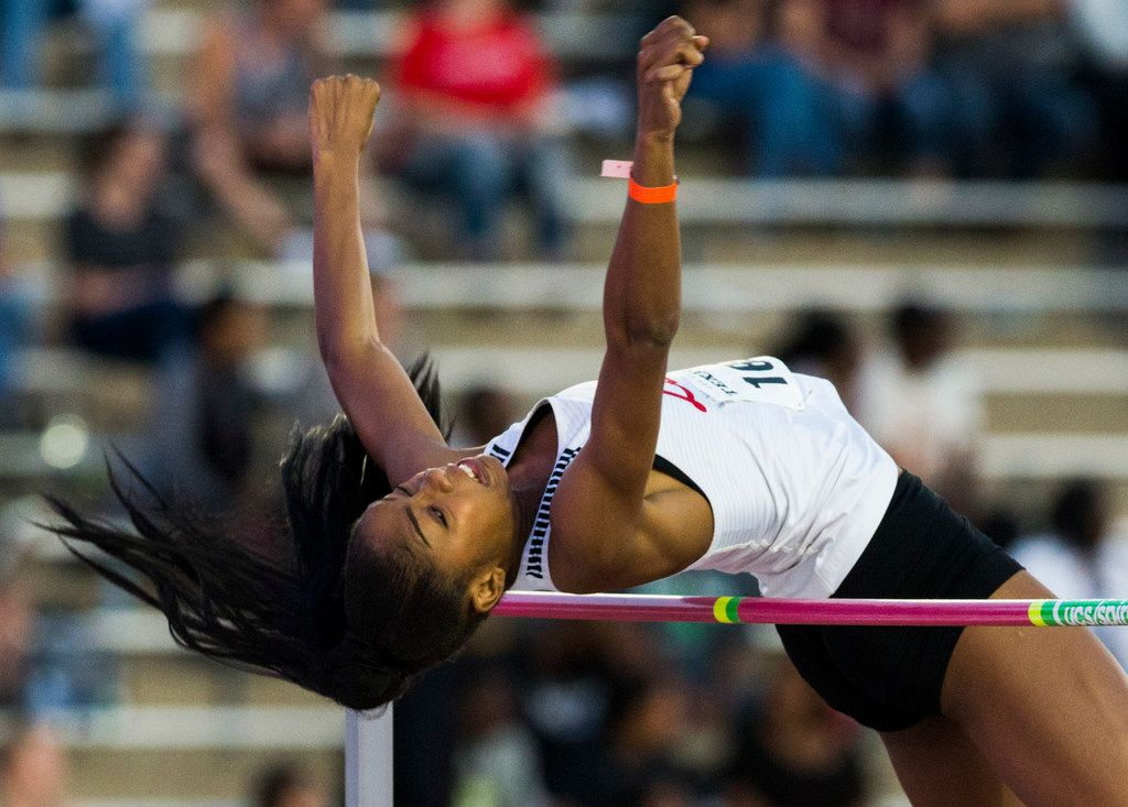Frisco Liberty's Nissi Kabongo participates in the High School Girls High Jump during the Texas Relays track and field meet on Friday, March 29, 2019 at Mike A. Meyers Stadium at the University of Texas in Austin. (Ashley Landis/The Dallas Morning News)