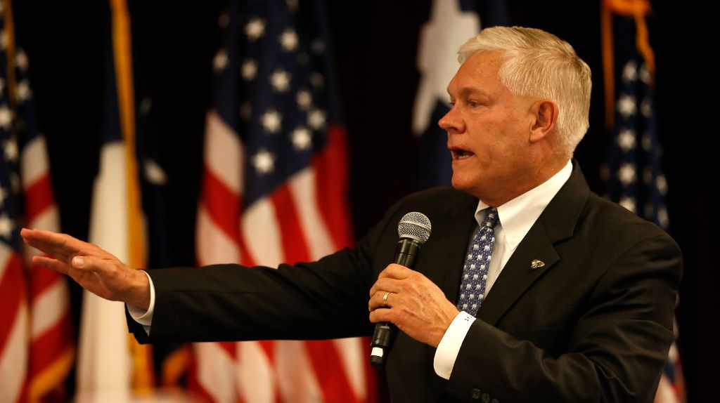 US Rep. Pete Sessions makes a victory speech at a Dallas County Republican watch party at the Westin Dallas Park Central hotel in Dallas, Tuesday, Nov. 8, 2016. (Jae S. Lee/The Dallas Morning News)