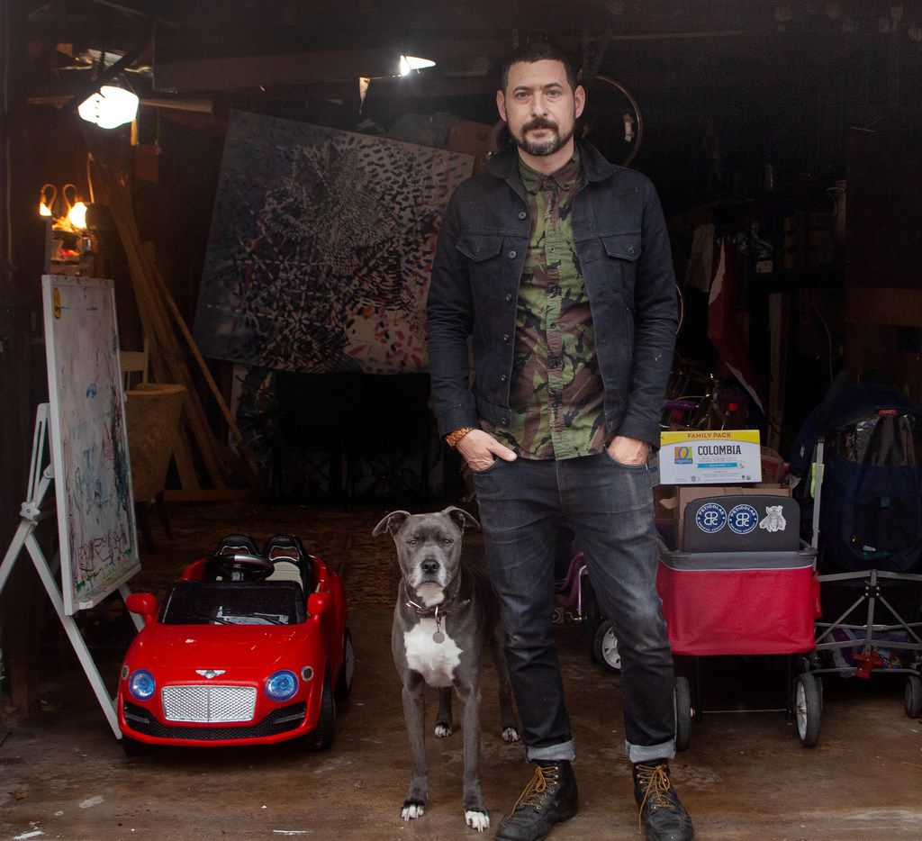 Artist Nic Mathis with his dog, Max, photographed in his studio in Dallas on Jan. 22, 2019.