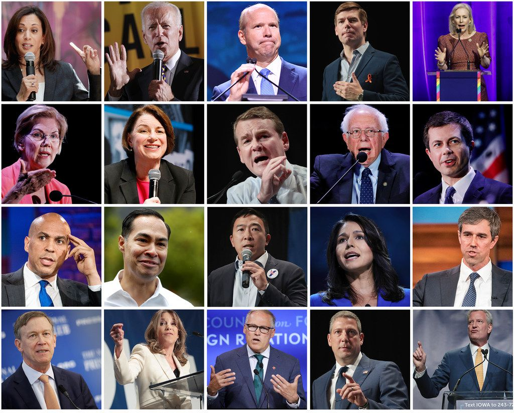 Twenty of the 2020 Democrats scored invitations to the party's first primary debate, held over two nights in Miami, June 26 and 27, 2019. (Getty Images/photo collage by TNS)