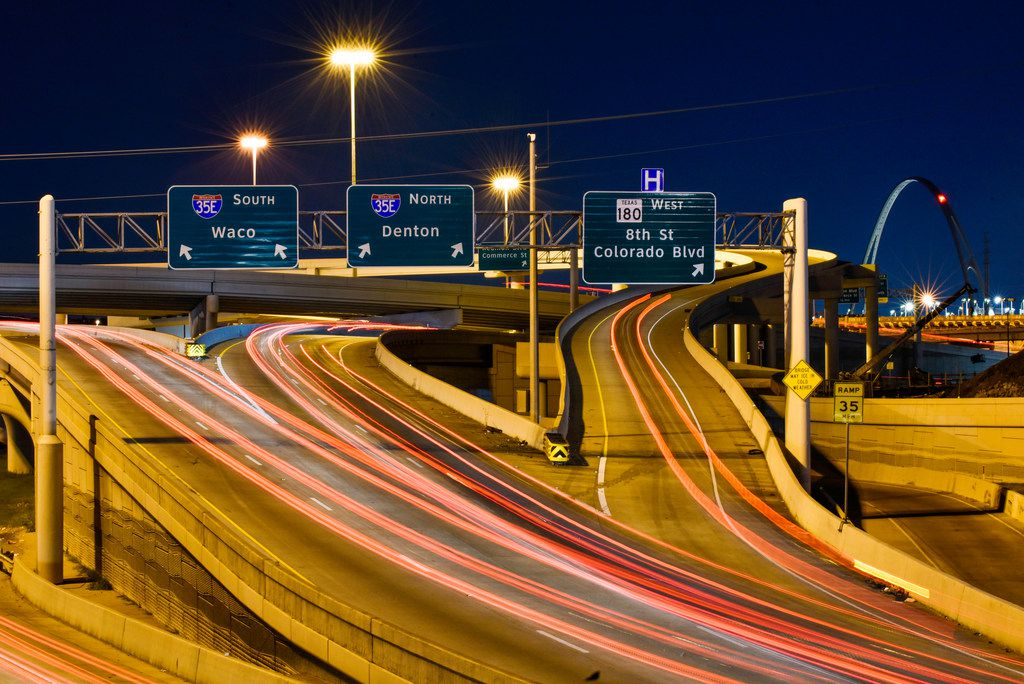 The permanent Eighth Street exit now uses an overpass next to the main lanes of southbound I-35E over the Trinity River, according to the Texas Department of Transportation.