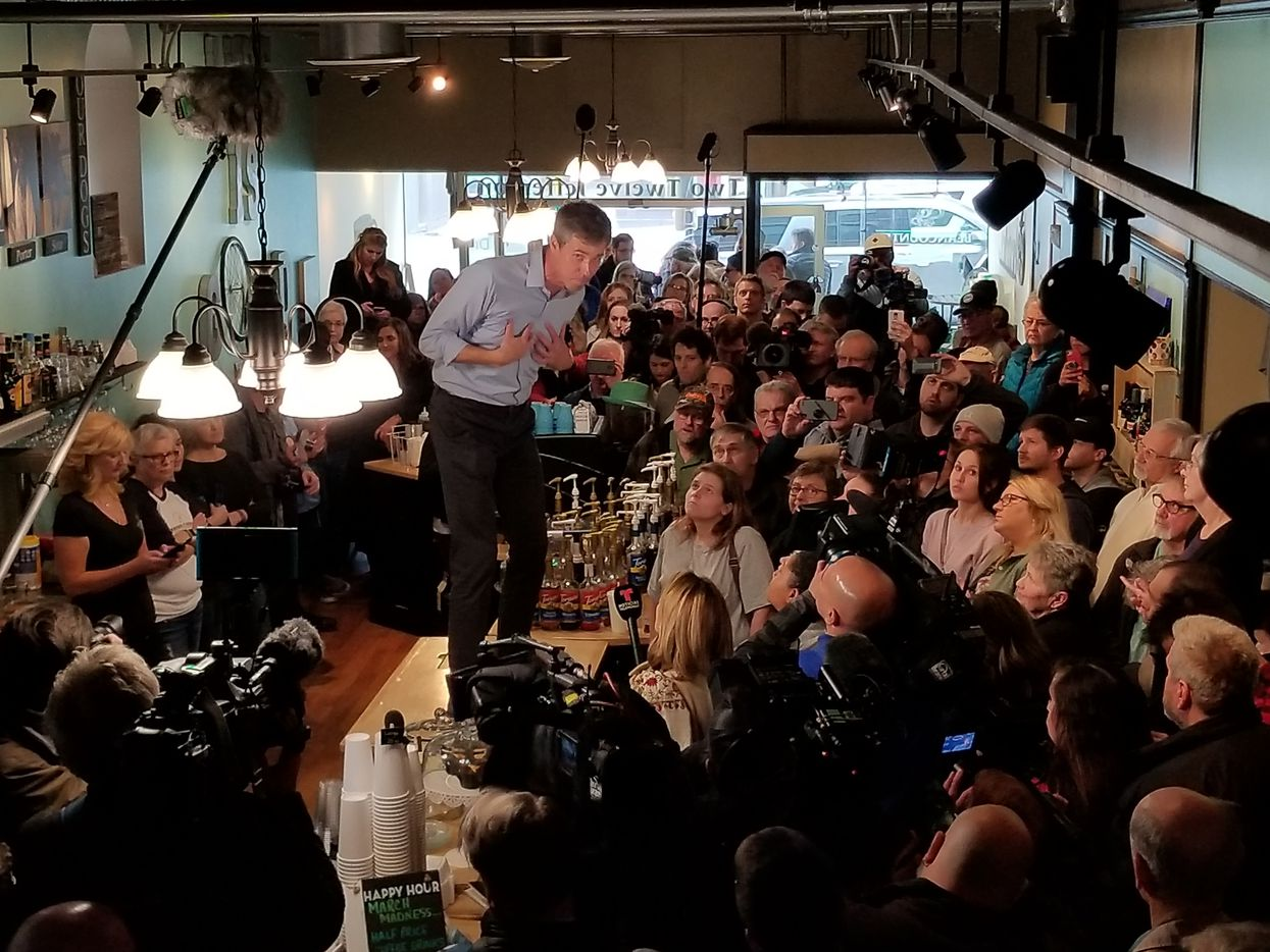 Beto O'Rourke stumps at the Beancounter Coffeehouse & Drinkery in Burlington, Iowa, on March 14, 2019, the first day of his presidential campaign.