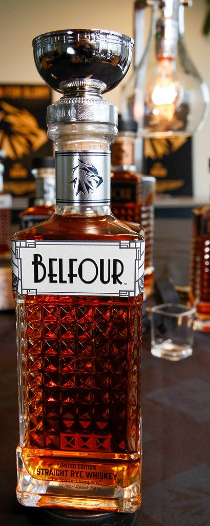 The Limited Edition Straight Rye Whiskey from Belfour Spirits is topped with a 1-ounce Stanley Cup as an homage to Ed Belfour's only NHL championship title with the Dallas Stars.