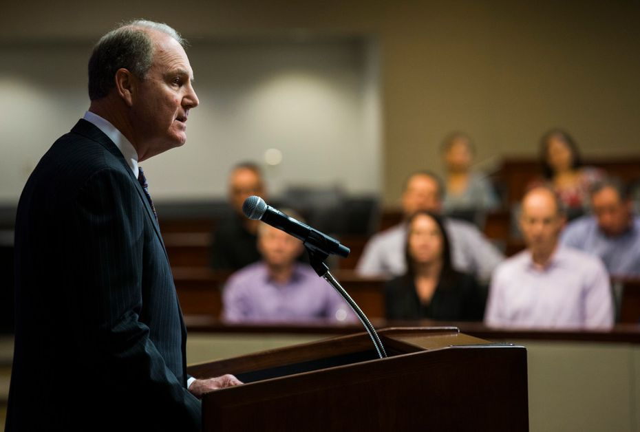 Southwest Airlines Chairman of the Board and Chief Executive Officer Gary Kelly answers questions from reporters on Tuesday, April 17, 2018 at Southwest Airlines Headquarters near Dallas Love Field Airport in Dallas. A Southwest Airlines flight headed for Dallas from New York had to make an emergency landing in Philadelphia due to engine failure. The failure caused one death and seven injuries. (Ashley Landis/The Dallas Morning News)