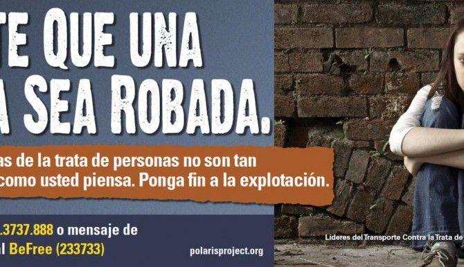 Este es uno de los posters con los que DART creará conciencia en la comunidad sobre el tráfico humano. (DART/CORTESIA)