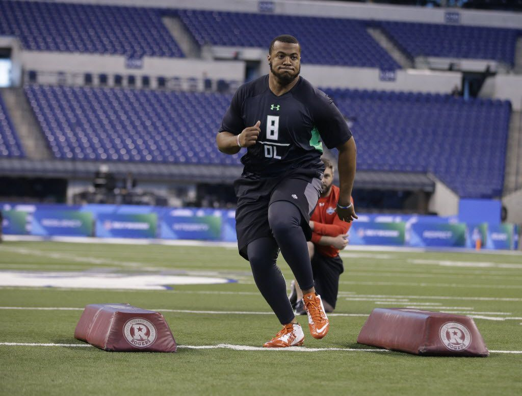 Florida defensive lineman Jonathan Bullard runs a drill at the NFL football scouting combine on Tuesday, March 1, 2016, in Indianapolis. (AP Photo/Darron Cummings)