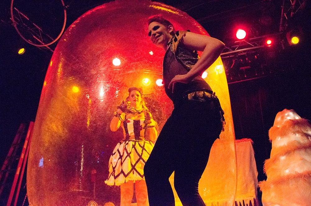 Performers debut a new prop at the burlesque ballet Saturday night.