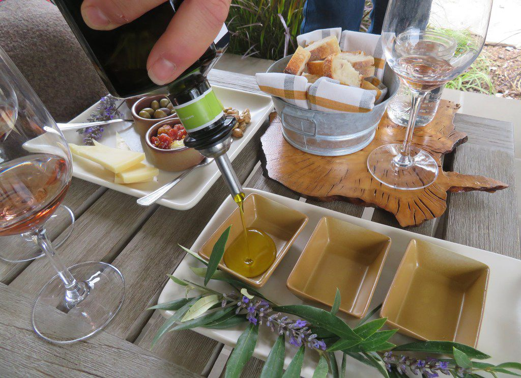 McEvoy Ranch offers different tastings and tours for $20 to $95 a person. In this $45  At Our Table  option, visitors can taste olive oil and wine paired with its olives and spreads, local cheeses and almonds.