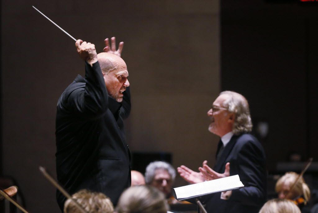 "Jaap Van Zweden conducts and speaker Ronald Guttman performed Bernstein's Symphony No. 3 ""Kaddish""  with the Dallas Symphony Orchestra at the Meyerson Symphony Center on May 14, 2015."