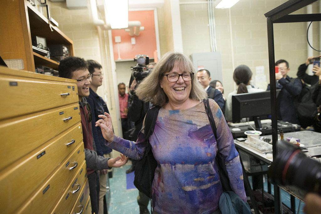 Professor Donna Strickland arrives in her lab at the University of Waterloo, following a press conference to address her shared Nobel Prize in Physics, October 2, 2018 in Waterloo, Canada. Strickland won for her work on ultrashort lasers.