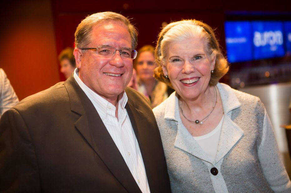 Mary Jalonick with Doug Curtis at the Aurora sponsor reception in October 2015 in the Dallas Arts District
