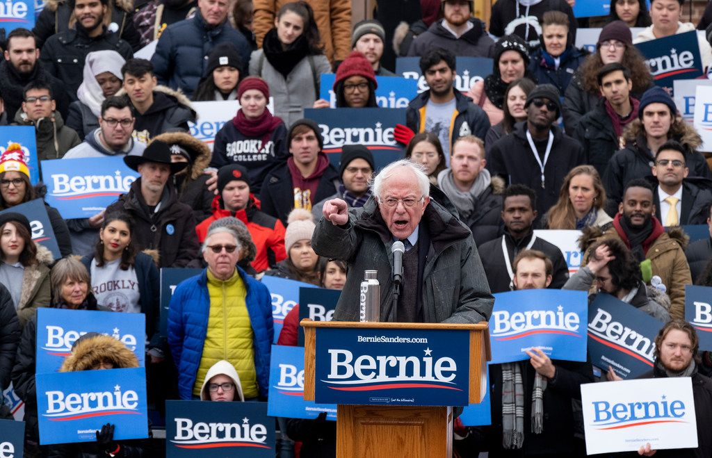 "Sen. Bernie Sanders, I-Vt., speaks in Brooklyn as he kicks off his second presidential campaign on March 2, 2019. He pledged to fight for ""economic justice, social justice, racial justice and environmental justice."""